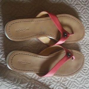 Pink coach sandals